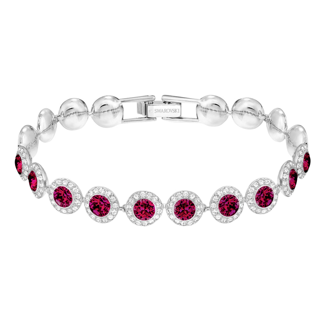 SWAROVSKI 'Angelic' Red & White Crystal Bracelet in Rhodium Plating - 5446006