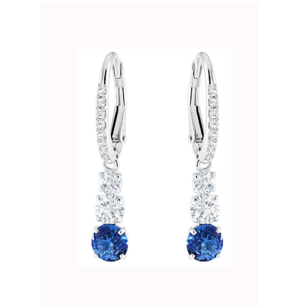 SWAROVSKI 'Attract Trilogy' Blue & White Crystal Earrings in Rhodium Plating - 5416154