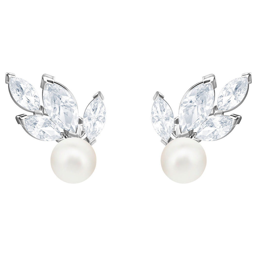 SWAROVSKI 'Louison Pearl' White Marquise Crystal Earrings in Rhodium Plating - 5422683