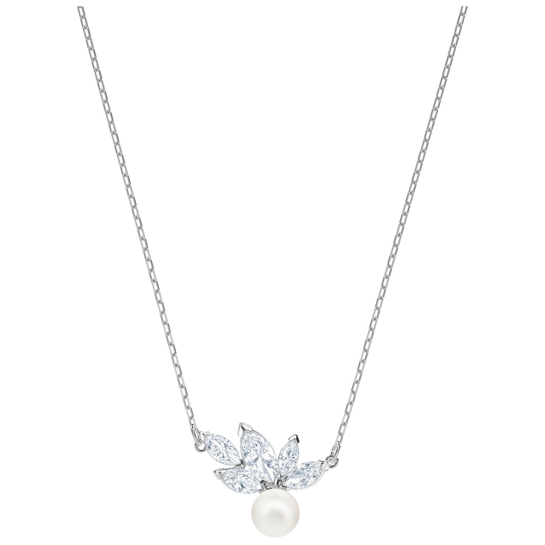 SWAROVSKI 'Louison Pearl' White Marquise Crystal Necklace in Rhodium Plating - 5422685