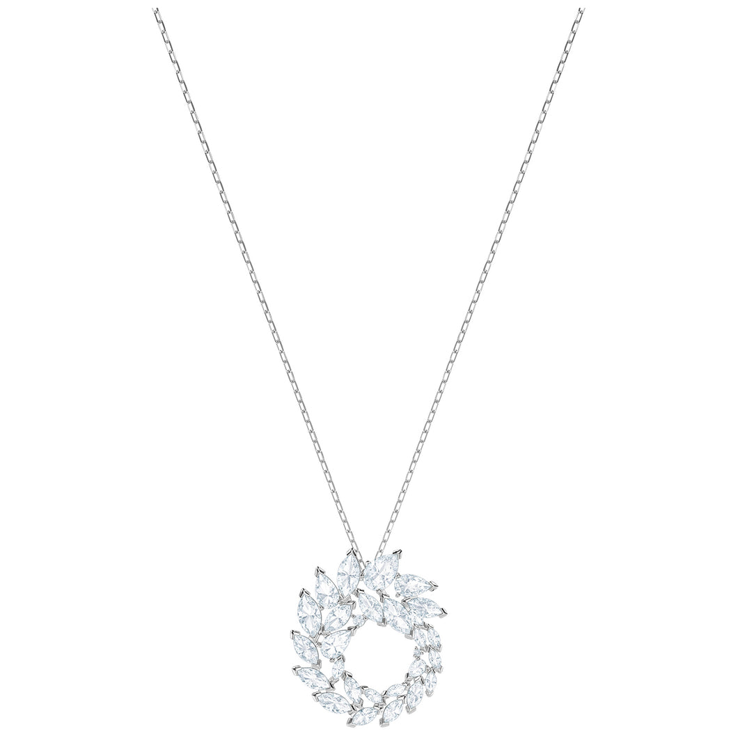 SWAROVSKI 'Louison' White Marquise Crystal Wreath Pendant in Rhodium Plating - 5415989