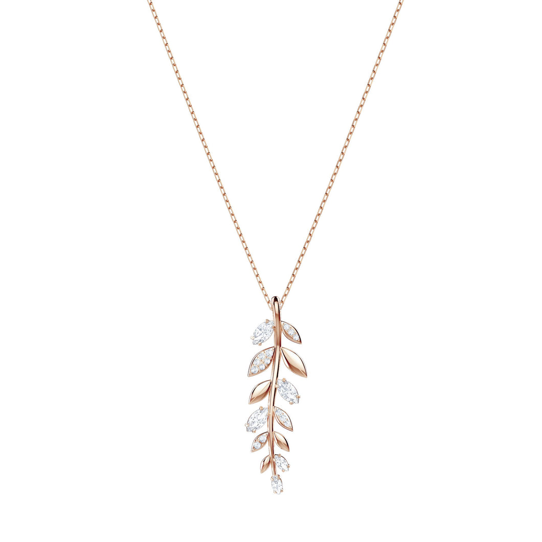 SWAROVSKI 'Mayfly' White Crystal Leaf-Inspired Pendant in Rose-Gold Tone Plating - 5409340