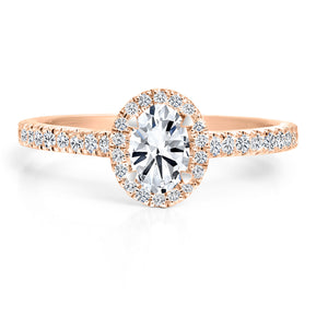 FOREVERMARK Black Label 1/2 ct. Oval Diamond Engagement Ring with 1/3 ct. Diamond Halo & Shank in 18K Pink Gold - FMR00005/50BLOV