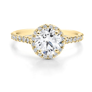 FOREVERMARK Black Label 1/2 ct. Round Brilliant Diamond Engagement Ring with 1/3 ct. Diamond Halo & Shank in 18K Yellow Gold - FMR00005/50BLRB