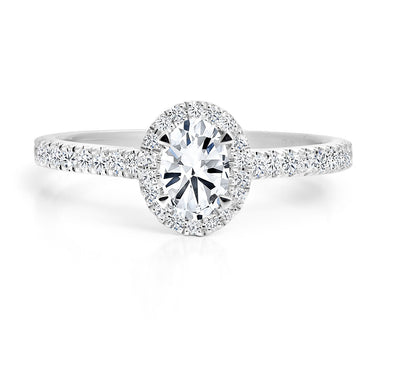 FOREVERMARK Black Label 1-1/3 ct. tw. Diamond Oval Halo Engagement Ring in 18K White Gold -FMR00005/100BLOV