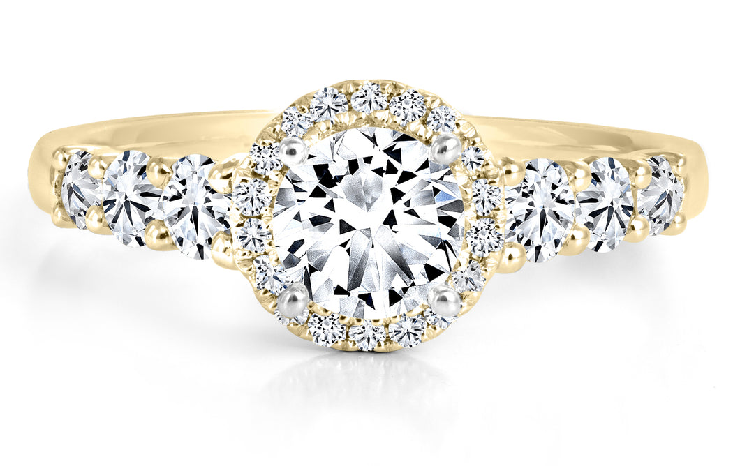 FOREVERMARK Black Label 1 ct. tw. Round Brilliant Diamond Halo Engagement Ring with Prong Set Band in 18K Yellow Gold - FMR00062/BLRB
