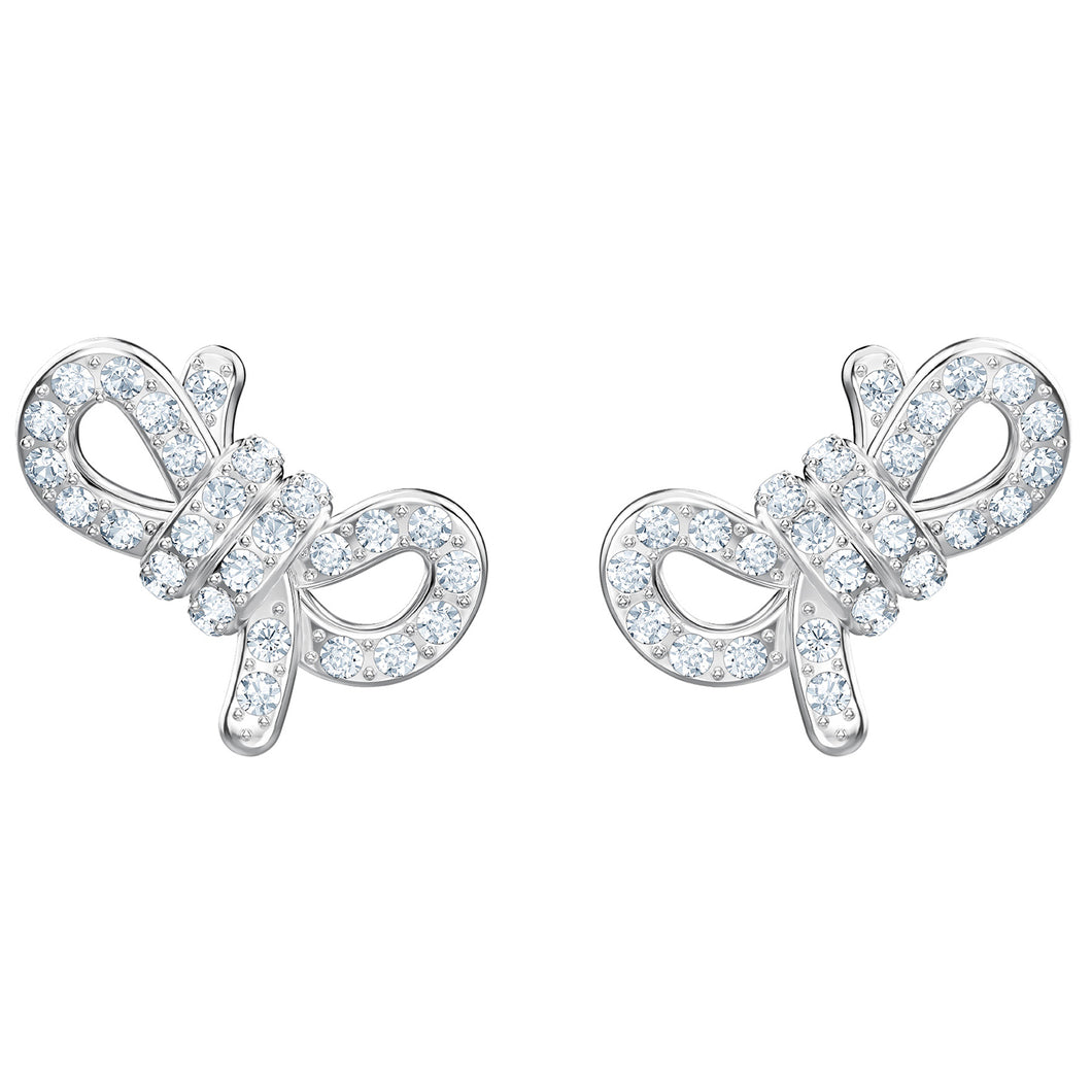 SWAROVSKI 'Lifelong Bow' White Crystal Earrings in Rhodium Plating - 5447080