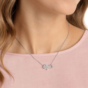 SWAROVSKI 'Lifelong Bow' White Crystal Necklace in Rhodium Plating - 5440643
