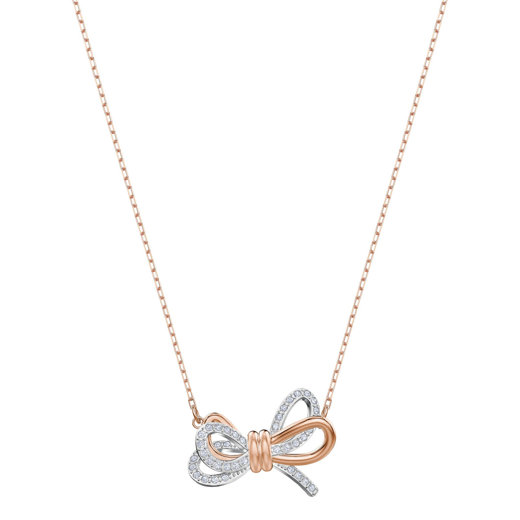 SWAROVSKI 'Lifelong Bow' White Crystal Necklace in Mixed Metal Finish - 5440636