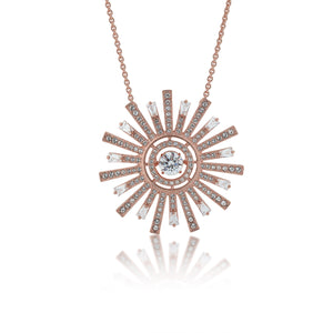 SWAROVSKI 'Sunshine' White Twinkling Crystal Starburst Necklace in Rose-Gold Tone Plating - 5459593