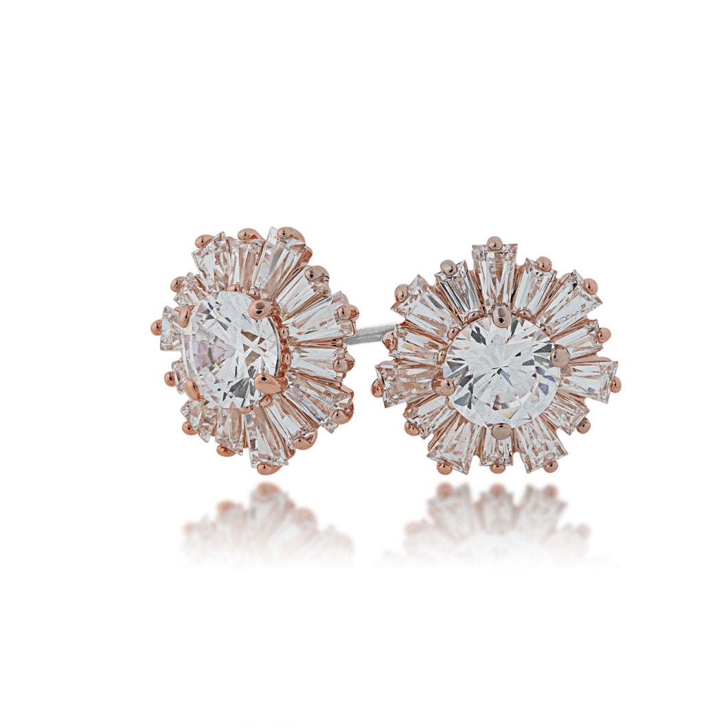 SWAROVSKI 'Sunshine' White Crystal Starburst Earrings in Rose-Gold Tone Plating - 5459597