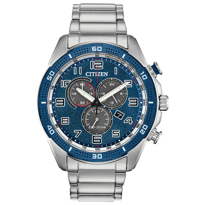 Citizen Men's Chronograph Silver Stainless Steel Watch with Navy BLUE DIAL - AT2440-51L