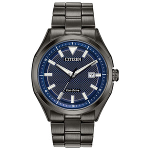 CITIZEN MEN'S DARK GRAY STAINLESS STEEL ANALOG WATCH WITH DENIM BLUE DIAL - AW1147-52L