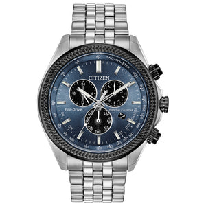CITIZEN MEN'S BRYCEN CHRONOGRAPH STAINLESS STEEL WATCH WITH BLUE-GRAY DIAL - BL5568-54L