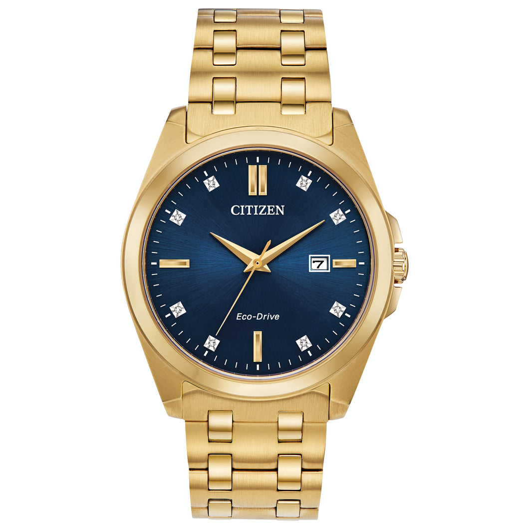 CITIZEN MEN'S CORSO GOLD-TONE STAINLESS STEEL ANALOG WATCH WITH AZURE BLUE DIAL - BM7103-51L