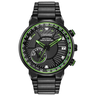 CITIZEN MEN'S SATELLITE WAVE GPS FREEDOM STAINLESS STEEL WATCH WITH BLACK DIAL AND GREEN ACCENTS - CC3035-50E