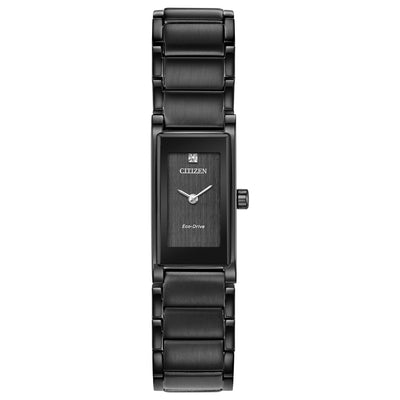 CITIZEN LADIES' AXIOM ANALOG BLACK STAINLESS STEEL WATCH WITH BLACK DIAL -EG7055-51E