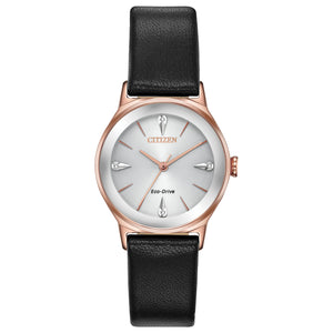 CITIZEN LADIES' AXIOM ANALOG STAINLESS STEEL WATCH WITH BLACK LEATHER BAND, WHITE DIAL AND PINK GOLD CASE - EM0733-08A