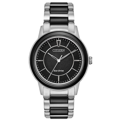 CITIZEN LADIES' CHANDLER ANALOG STAINLESS STEEL WATCH WITH BLACK CERAMIC BRACELET AND BLACK DIAL - EM0741-51E