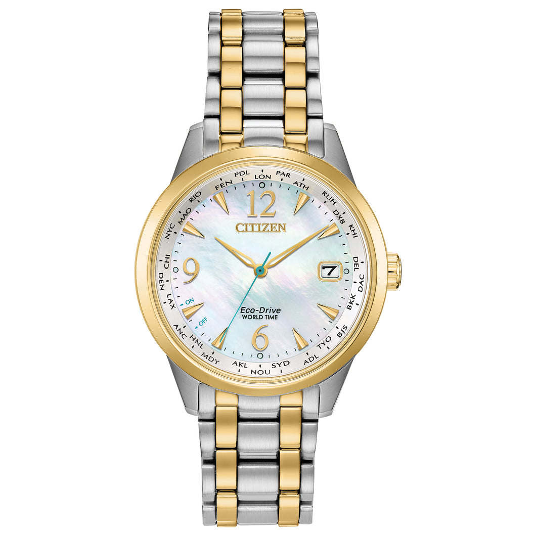 CITIZEN LADIES' WORLD TIME ANALOG TWO-TONE STAINLESS STEEL WATCH WITH MOTHER-OF-PERAL DIAL - FC8004-54D