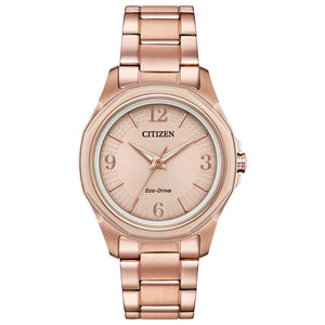 CITIZEN LADIES' ANALOG STAINLESS STEEL WATCH WITH ROSE COLORED BRACELET AND DIAL - FE7053-51X