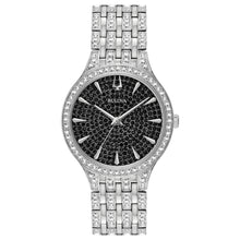 Bulova Ladies' Analog Watch with Black Dial and Silvertone Metal Band with Swarovski Crystals - 96L273
