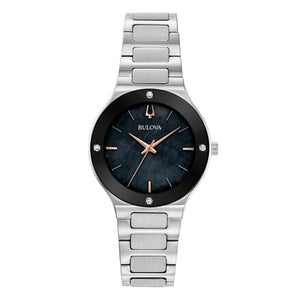 Bulova Ladies' Millennia Stainless Steel Watch with Black Mother-of-Pearl Dial and Silvertone Bracelet - 96R231