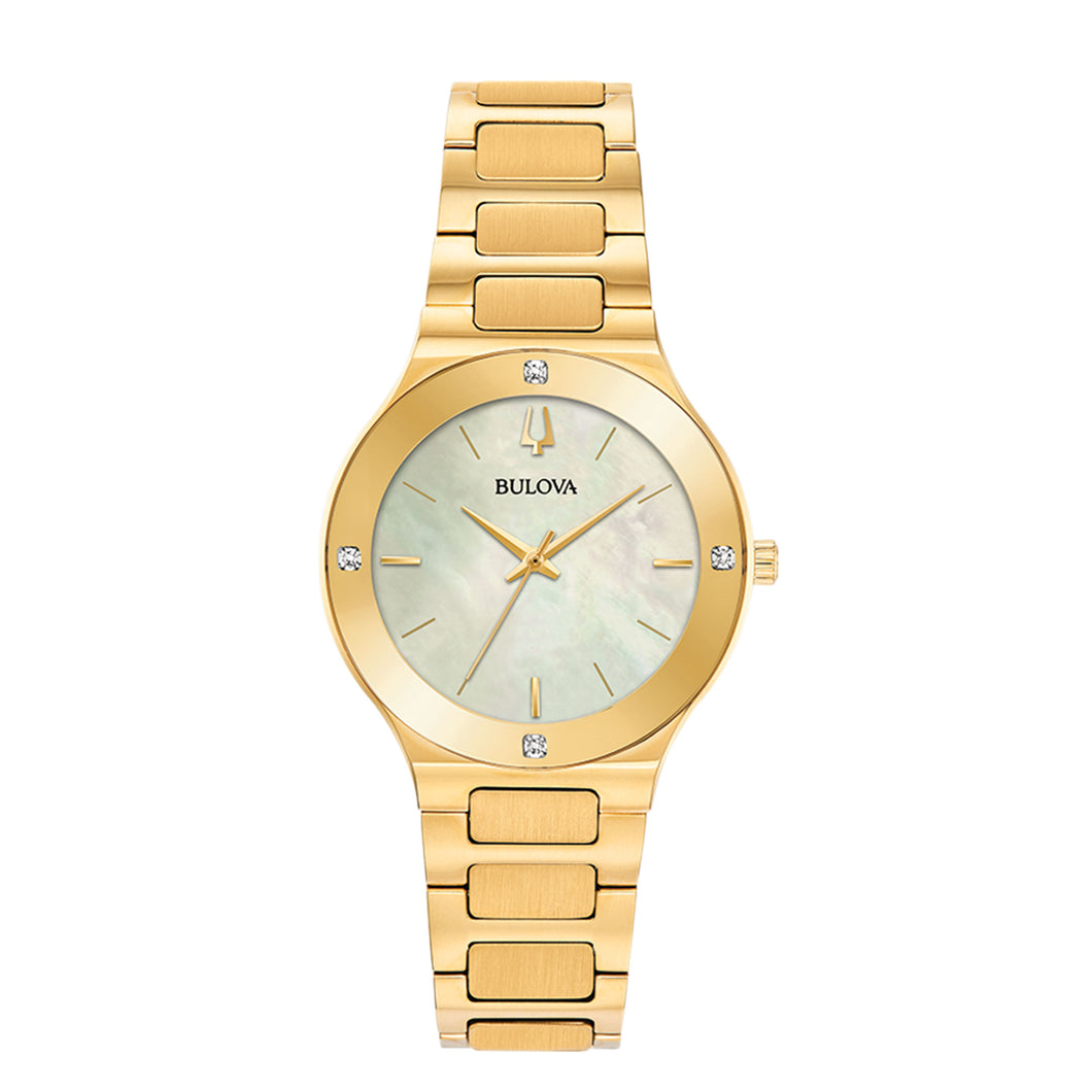 Bulova Ladies' Millenia Stainless Steel Watch with Champagne Mother-of-Pearl Dial and Gold-Tone Band - 97R102