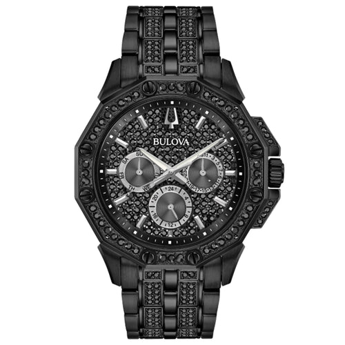 Bulova Men's Octava Stainless Steel Chronograph Watch with Black Dial and Swarovski Crystals  - 98C134