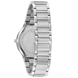 Bulova Men's Millennia Stainless Steel Watch with Black Dial, Silver Metal Band and Four Diamonds - 96E117