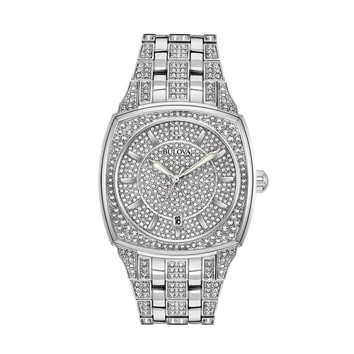 Bulova Men's Phantom Stainless Steel Watch with White Metal Band and 582 Swarovski® Crystals - 96B296