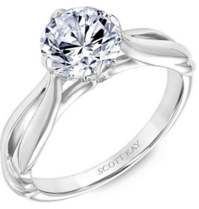 Scott Kay Namaste Collection Round Center Semi-Mount Engagement Ring with 1/10 ct. tw. Diamond Undercarriage & Keyhole Detailed Band in 14K White Gold -31-SK5614ERW