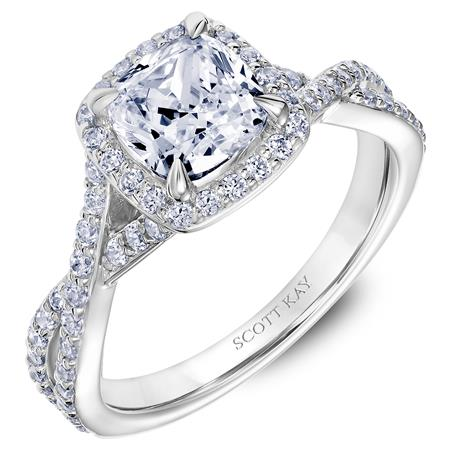Scott Kay Namaste Collection Cushion Cut Center Semi-Mount Engagement Ring with 1/2 ct. tw. Diamond Halo & Twist Split-Shank Band in  14K White Gold - 31-SK5636GUW