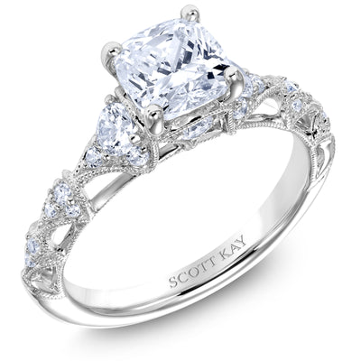 Scott Kay Heaven's Gates Collection Cushion Cut Center Semi-Mount Engagement Ring with 1/2 ct. tw. Diamond Open-Arches Band & Milgrain Detailing in 14K White Gold - 31-SK5187ERW