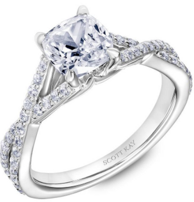 Scott Kay Namaste Collection Cushion Cut Center Semi-Mount Engagement Ring with 1/3 ct. tw. Diamond Twist Split-Shank Band in 14K White Gold - 31-SK5634GUW