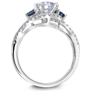Scott Kay Luminaire Collection Round  Center Semi-Mount Engagement Ring with Genuine Round Sapphires & 1/5 ct. tw. Diamond Bypass Band in 14K White Gold - 31-SK8144DRW