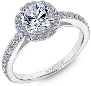 Scott Kay Luminaire Collection Round  Center Semi-Mount Engagement Ring with 1/3 ct. tw. Diamond Halo & Shank in 14K White Gold - 31-SK8239DRW