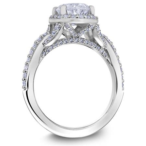 Scott Kay Embrace Collection Oval Center Semi-Mount Engagement Ring with 5/8 ct. tw. Diamond Halo & Link Setting in 14K White Gold - 31-SK5610EVW