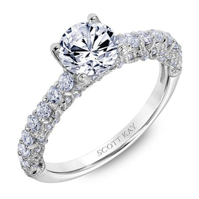 Scott Kay Heaven's Gates Collection Round Center Semi-Mount Engagement Ring with 3/4 ct. tw. Diamond Band & Open Arches Detailing in 14K White Gold - 31-SK6019ERW