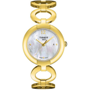 Tissot T-Lady Pinky Quartz 28MM Case Watch with Mother of Pearl Dial in Yellow Gold Tone Stainless Steel - T0842103311700