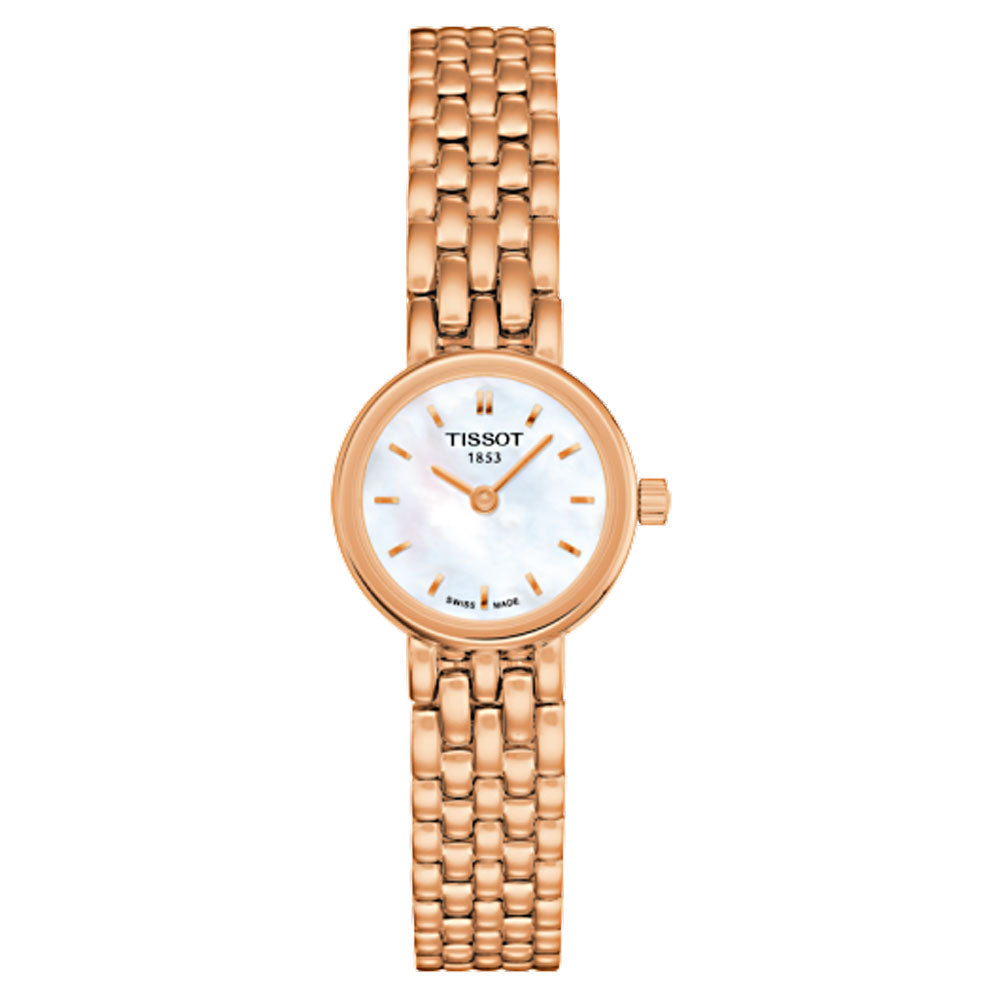 Tissot Lovely Quartz 19.5MM Case Watch with White Mother-of-Pearl Dial in Rose Gold Plated Stainless Steel -T0580093311100