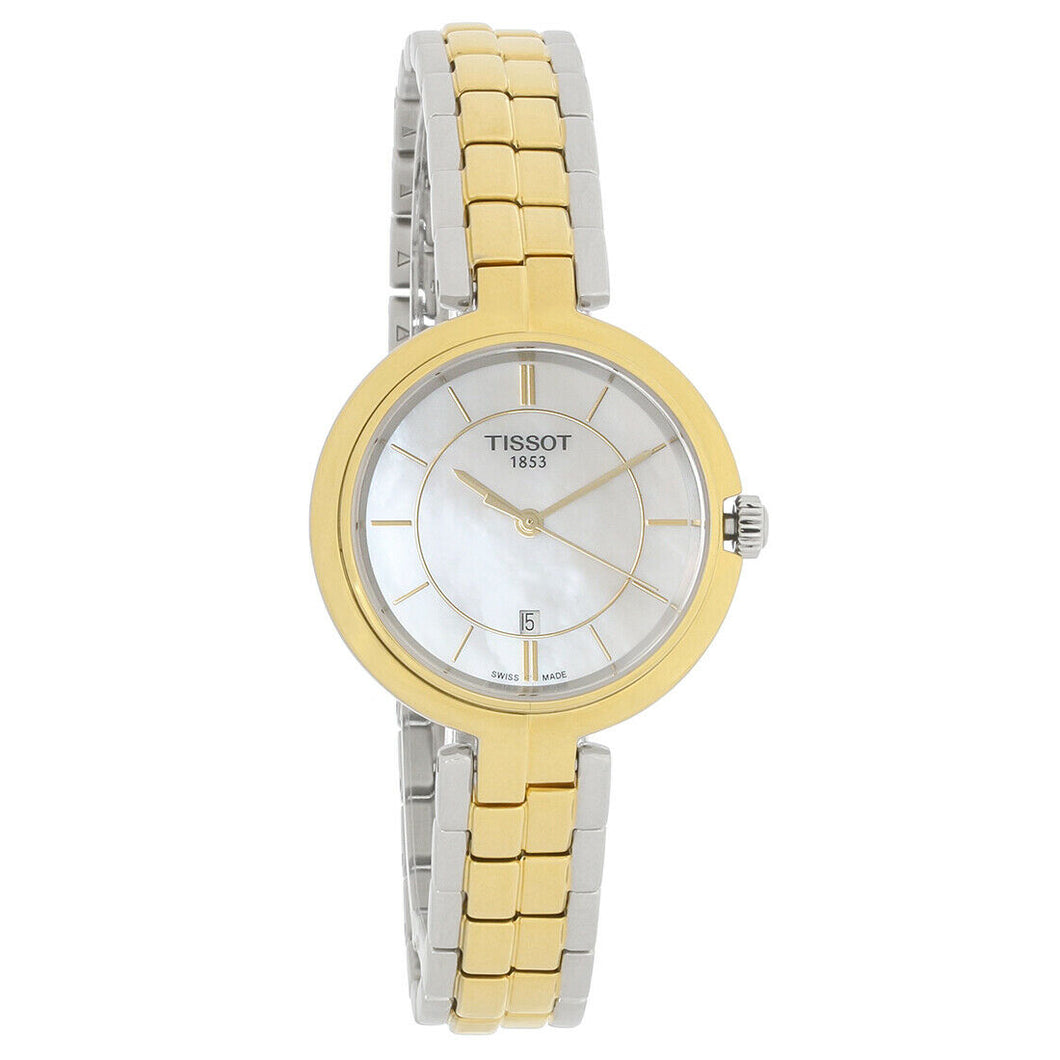 Tissot Flamingo Quartz 26MM Case Watch with White Mother-of-Pearl Dial in Gold Plated Stainless Steel -T0942102211101