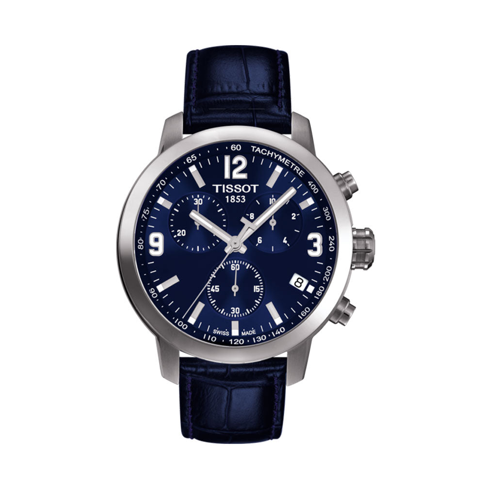 Tissot PRC 200 Chronograph 42MM Case Watch with Blue Dial & Blue Leather Strap - T0554171604700