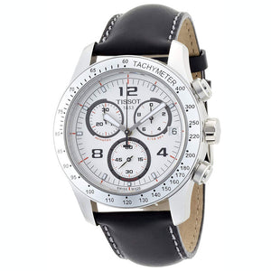 Tissot V8 Quartz Chronograph 43MM Case Watch with White Dial & Brown Leather Strap -T0394171603700
