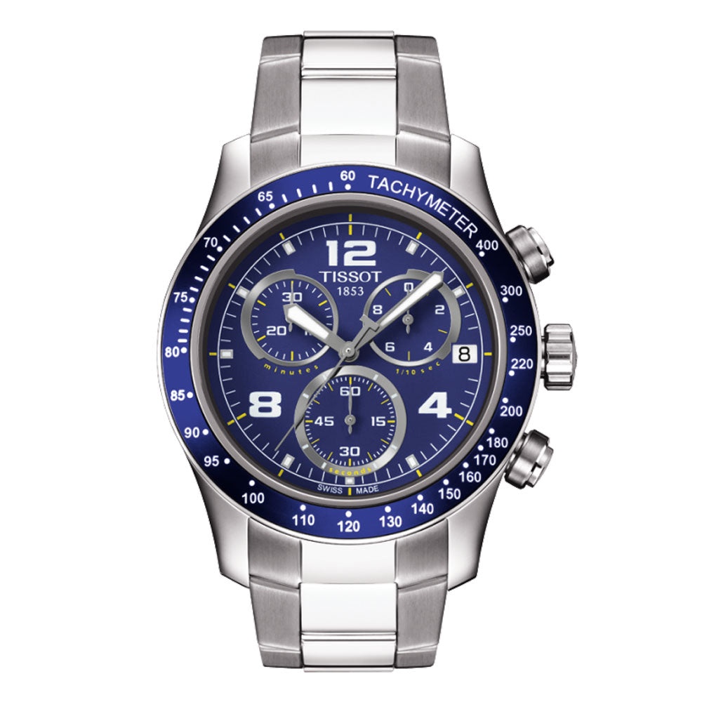 Tissot V8 Quartz Chronograph 43MM Case Watch with Blue Dial & Tachymeter Bezel -T0394171104702