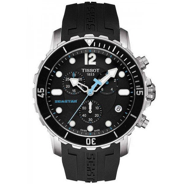 Tissot Seastar 1000 Chronograph 45MM Case Watch with Black Dial in Stainless Steel with Black Rubber Strap -T0664171705700