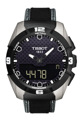 Tissot T-Touch Expert Solar 45MM Case Watch with Black Carbon Dial & Black Anthracite Leather Strap  -T0914204605101