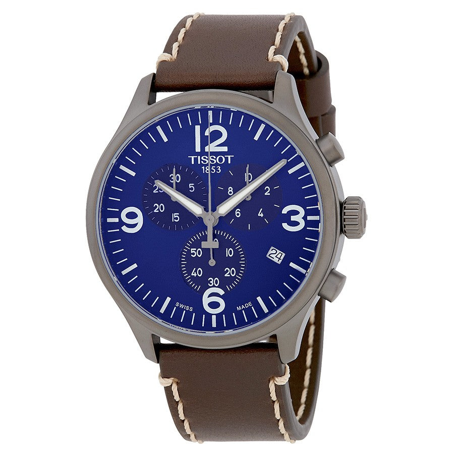 Tissot Chrono XL 45MM Case Watch with Blue Dial & Brown Leather Strap  -T1166173604700