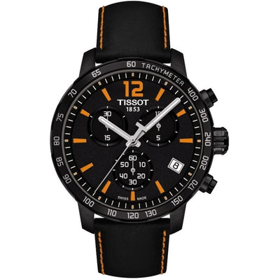 Tissot Quickster Chronograph 42MM Case Watch with Black Dial & Black Leather Strap with Orange Stitching - T0954173605700