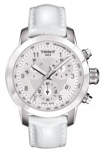 Tissot Ladies' PRC 200 Danica Patrick 2013 Limited Edition 34MM Case Watch with White Dial & Leather Strap - T0552171603200